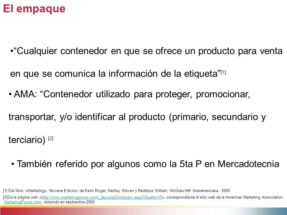 El empaque Cualquier contenedor en que se ofrece un producto para venta en que se comunica la información de la etiqueta [1]